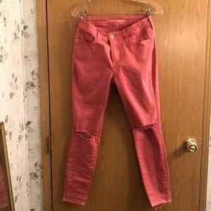 Old Navy Rock Start dark pink distressed jeans.